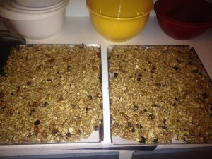 Granola on cookie sheets